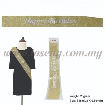 Happy Birthday Glitter Sash - Gold (P-AC-SAHBG-GO)