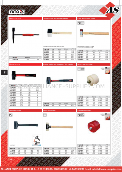 YATO Welding Hammer / Rubber Mallet with Wooden Handle / Rubber Mallet with Fibreglass, TPR Handle