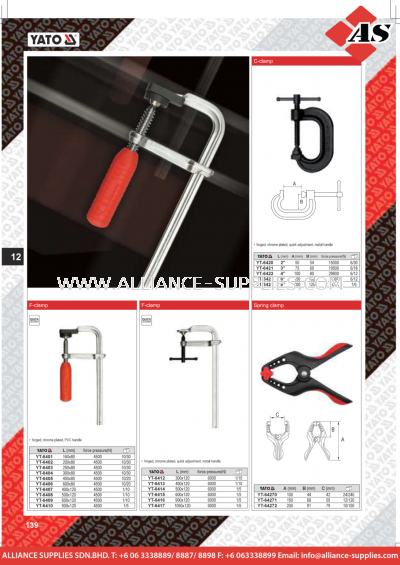 YATO C-Clamp / F-Clamp / Spring Clamp