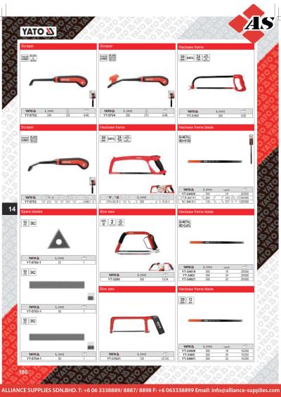 YATO Scraper / Hacksaw Frame / Hacksaw Frame Blade / Bow Saw / Spare Blades