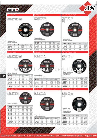 YATO Inox Cutting Disc / Metal Grinding Disc / Flap Disc - Regular Shape / Metal Cutting Disc