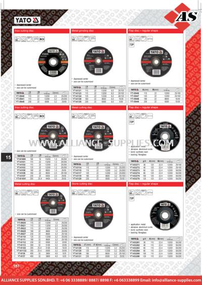 YATO Inox Cutting Disc / Metal Grinding Disc / Flap Disc - Regular Shape / Metal Cutting Disc