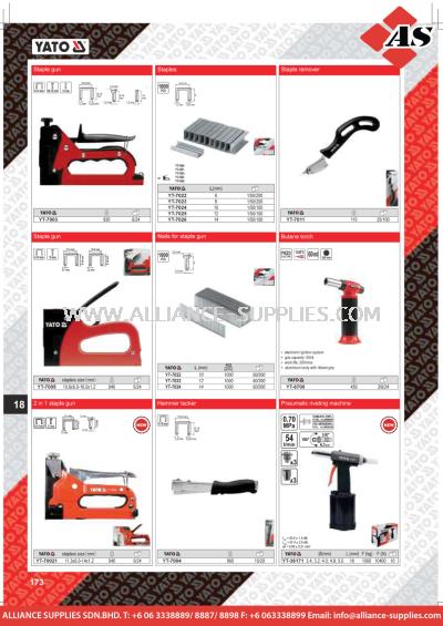 YATO Staple Gun / Staples / Staple Remover / Nails For Staple Gun / Butane Torch / 2 in 1 Staple Gun