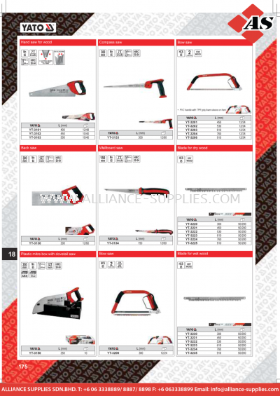 YATO Hand Saw For Wood / Compass Saw / Bow Saw / Back Saw / Wallboard Saw / Blade For Dry Wood