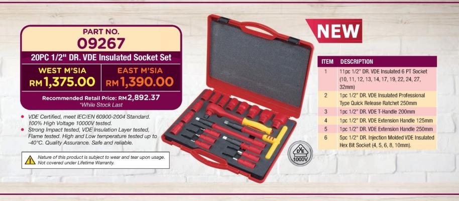 "Sata 09267 20PC 1/2"" DR. VDE Insulated Socket Set"