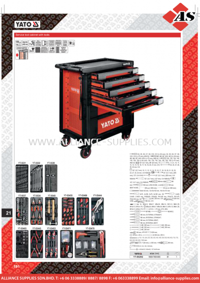 YATO Service Tool Cabinet With Tools YT-55292