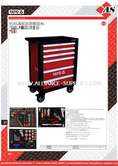 YATO Service Tool Cabinet With Tools YT-55304