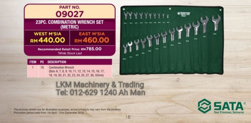 SATA 23PC Combination Wrench 6-32mm 09027