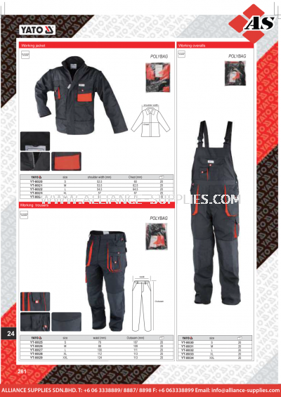 YATO Working Jackets / Working / Trousers / Working Overalls