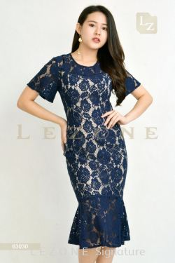 63030 LACE RUFFLE MIDI DRESS  【ONLINE EXCLUSIVE 35%】