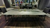Modern Marble Dining Table - Panda White Marble Marble Dining Table