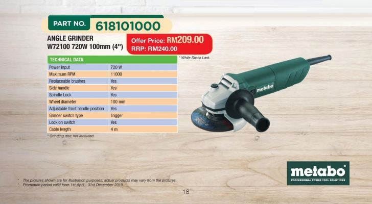 "METABO W72100 720W 100MM 4"" ANGLE GRINDER"