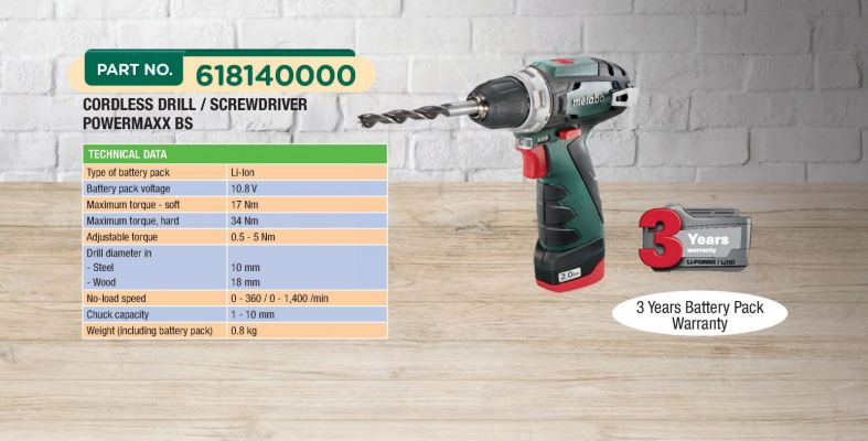 METABO 10.8V Drill Screwdriver Basic PowerMaxx BS (618400000)