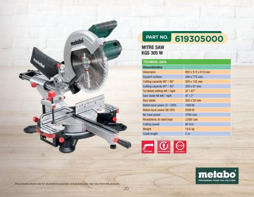"METABO KGS305M Miter Saw Sliding 305mm (12"") 619305000"