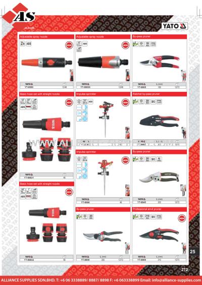YATO Adjustable Spray Nozzle / Basic Hose Set With Straight Nozzle / Impulse Sprinkler / Ratchet