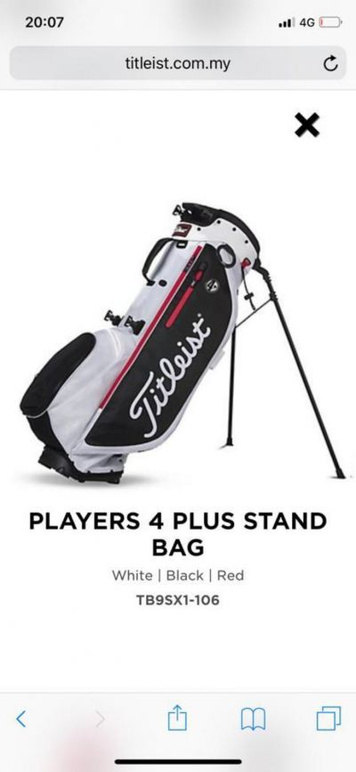 Titleist 4Up White Black Red Zipper Stand Bag