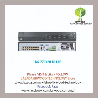 HIKVISION DS-7716NI-E416P: 16 CH 6MP Embedded Plug & Play Network Video Recorder(NVR) C/W 16 PoE