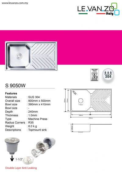 Single Water Sink (S 9050W)