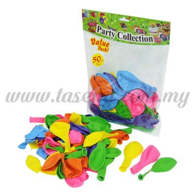 9 inch Standard Balloon Assorted Color 50pcs (B-9S50)