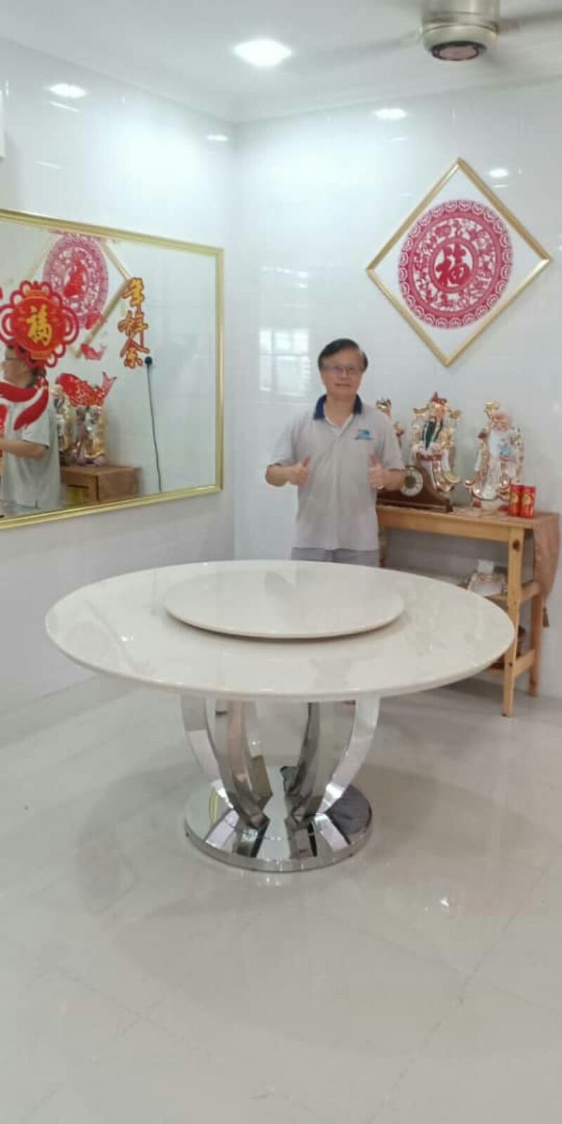 Modern Marble Dining Table From Italy - Royal Botticino Marble