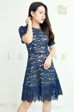 32087 LACE OVERLAY DRESS 【ONLINE EXCLUSIVE 35%】