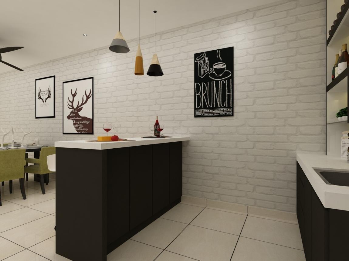 Bar Kaunter Bar Counter 3D  Ruang Makan Reka Bentuk 3D