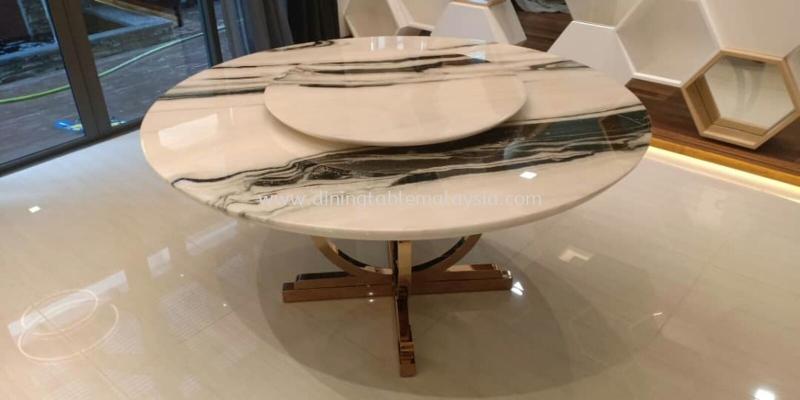 Modern Marble Dining Table - Panda White Marble