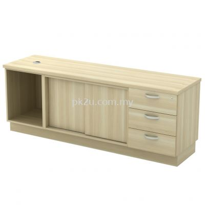 SC-YOSP-1636 - Open Shelf + Sliding Door + Fixed Pedestal 3D