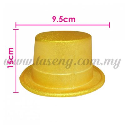 Plastic Top Hat Glitter - Golden Yellow (HAT-T1-GY)