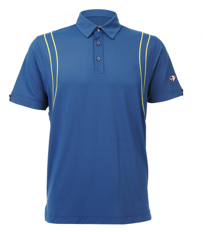 Crest Link Sky Blue Series 100% Microfibre Self Fabric Collar Polo