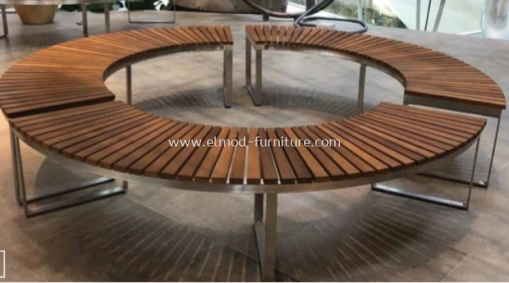 Wooden Bench With SS Base