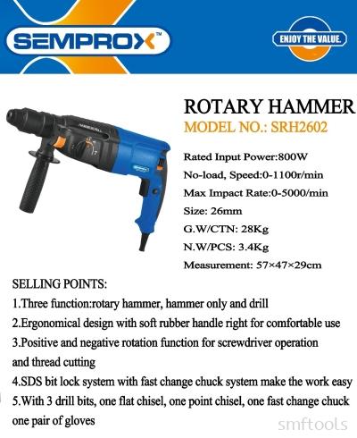SEMPROX INDUSTRIAL ROTARY HAMMER SRH2602