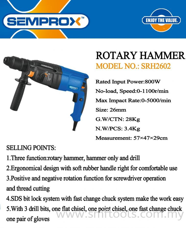 SEMPROX INDUSTRIAL ROTARY HAMMER SRH2602 SEMPROX