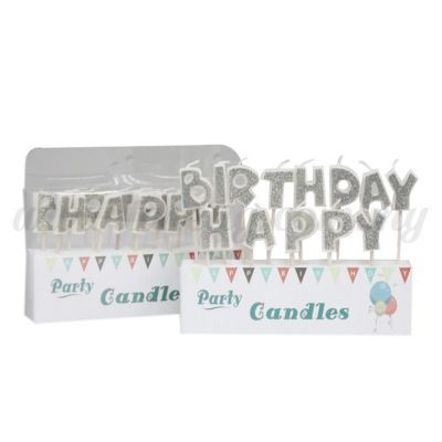 Candle Happy Birthday * Silver (CDL-H0016)