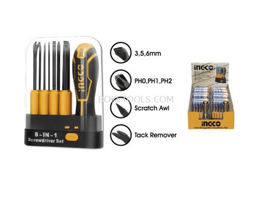 (AVAILABLE IN PIONEER BRANCH) INGCO AKISD0901 9 Pcs Interchangeable Screwdriver Set