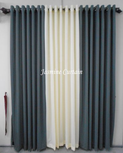 "1 SET CURTAIN EYELET PLAIN GREY-CREAM (72""X85"") (3PCS)"