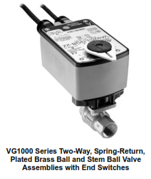 VG1000 Series Two-Way, Plated Brass Trim, NPT End Connections Ball Valves with Spring-Return Electri