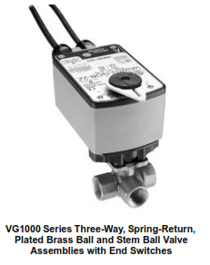 VG1000 Series Three-Way, Plated Brass Ball and Stem, NPT End Connections Ball Valve Assemblies with