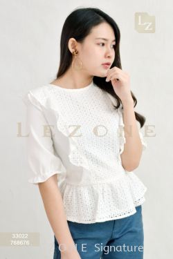 33022 LACE MESH SLEEVE BLOUSE 【Online Exclusive Promo 41% OFF】