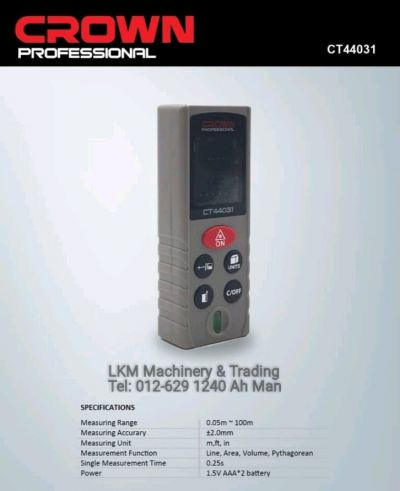 Crown 100m Digital Laser Rangefinder/Measure