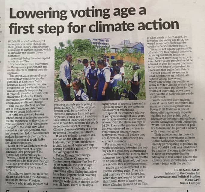 Lowering Voting age a first step for climate action