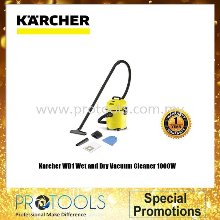 Karcher WD1 Wet and Dry Vacuum Cleaner 1000W VALUE PACK