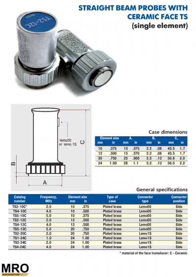 Straight Beam Probes With Ceramic Face TS (Single Element)