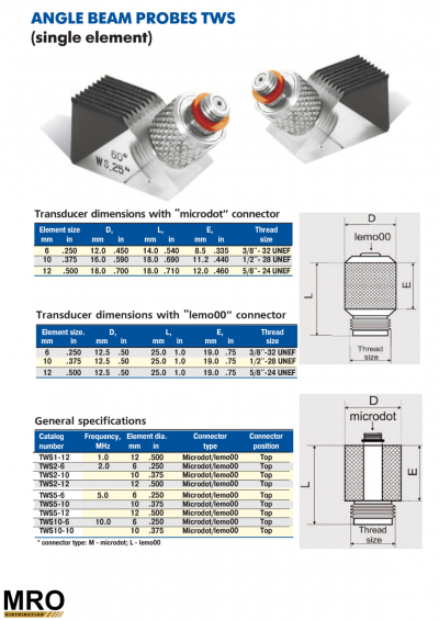 Angle Beam Probes TWS And Wedge WS (Single Element)