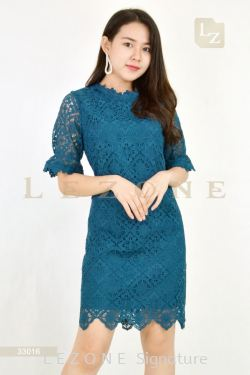 33016 PLUS SIZE LACE OVER LAY DRESS 【ONLINE EXCLUSIVE 35%】