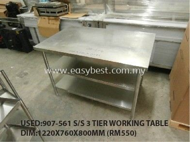 USED:907-561 S/S 3 TIER WORKING TABLE