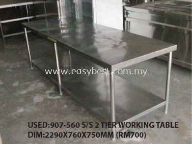 USED:907-560 S/S 2 TIER WORKING TABLE