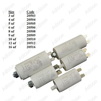 Code: 20510 10 uf Washing Machine Capacitor ICAR (Italy)