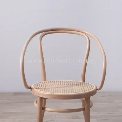 RATTAN + WOOD DINING CHAIR THONET WITH ARM 30�� NETTING