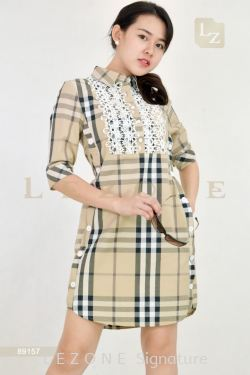 89157 LACE PLAID SLEEVE DRESS